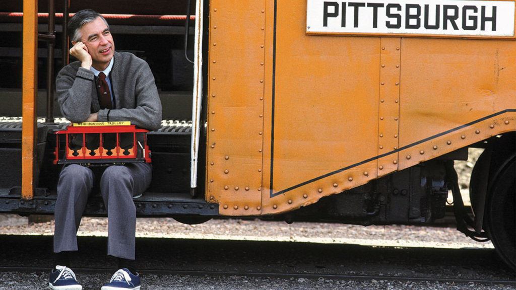 Mr Rogers sitting with Trolley